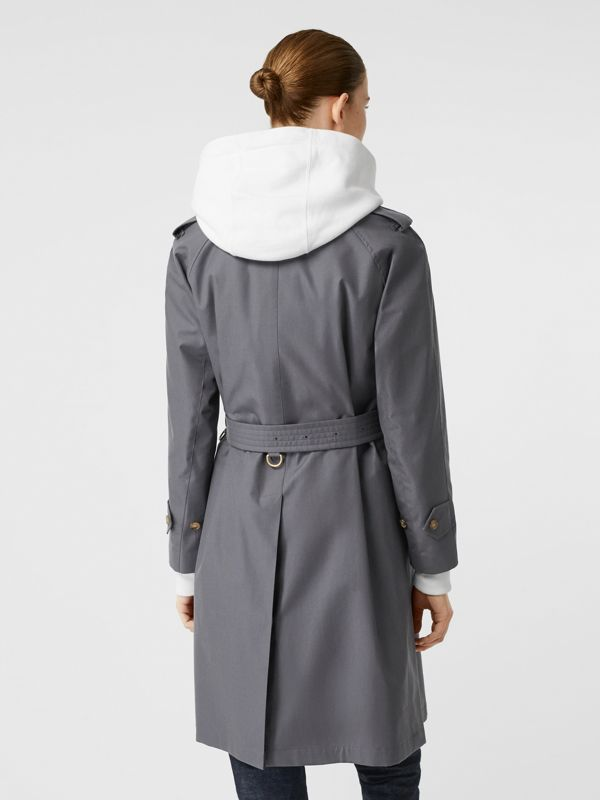 Cotton Gabardine Belted Car Coat in Mid Grey - Women | Burberry - cell image 2