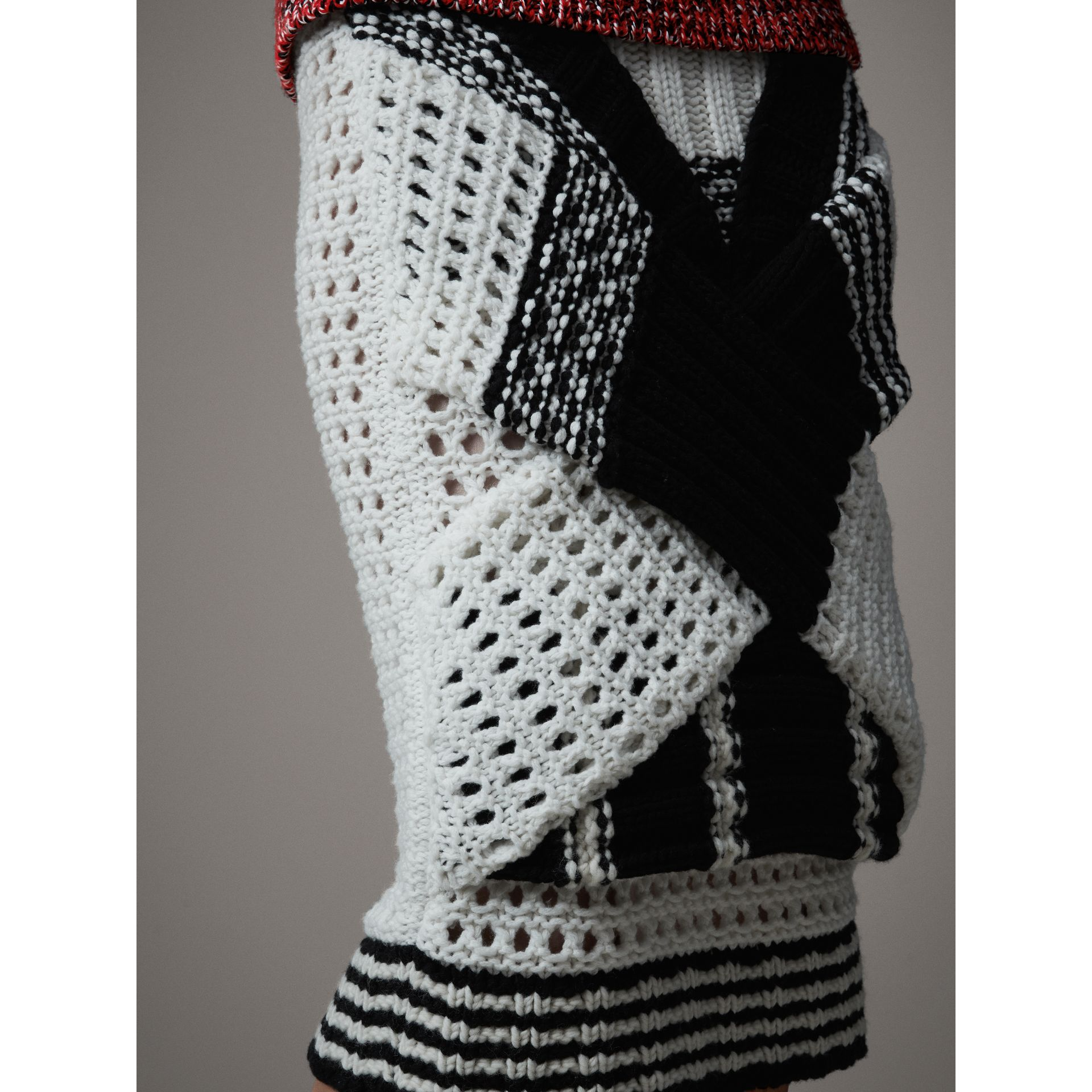 Knitted Wool Cross-panel Skirt in White/black - Women | Burberry - gallery image 2