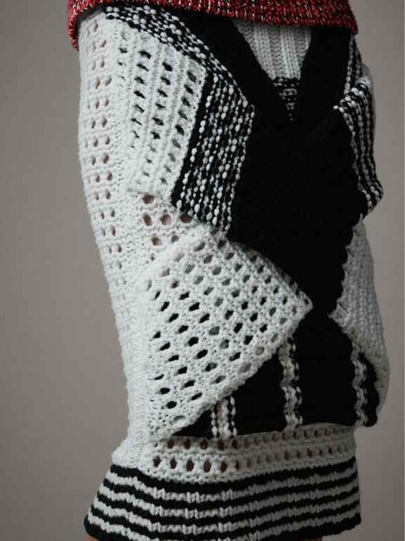 Knitted Wool Cross-panel Skirt in White/black - Women | Burberry United Kingdom - cell image 1