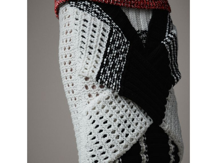 Knitted Wool Cross-panel Skirt in White/black - Women | Burberry Canada - cell image 1