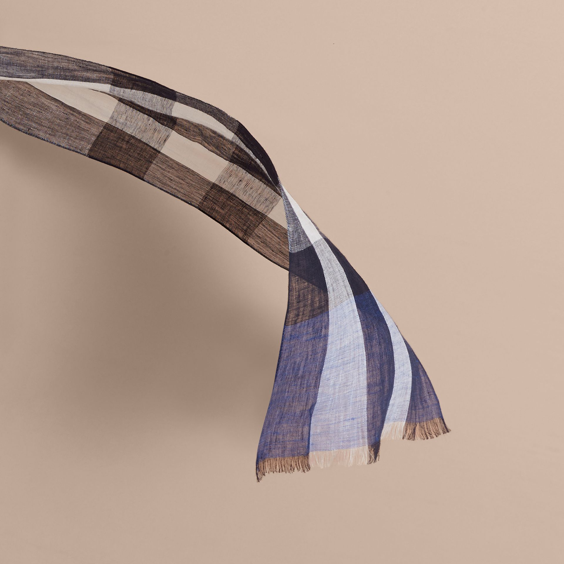 Lightweight Exploded Check Linen Scarf Chalk Blue - gallery image 3