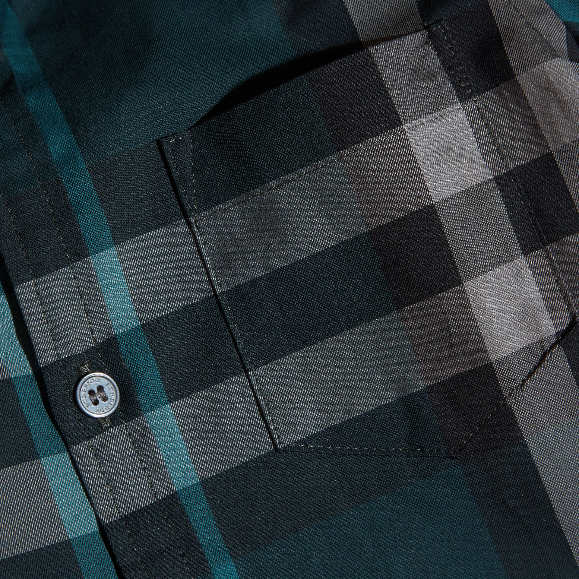 Racing green Check Cotton Button-Down Shirt Racing Green - gallery image 2