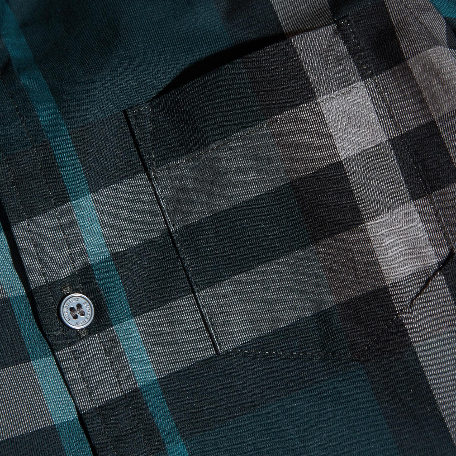 Verdone Camicia button-down in cotone con motivo check Verdone - immagine della galleria 2