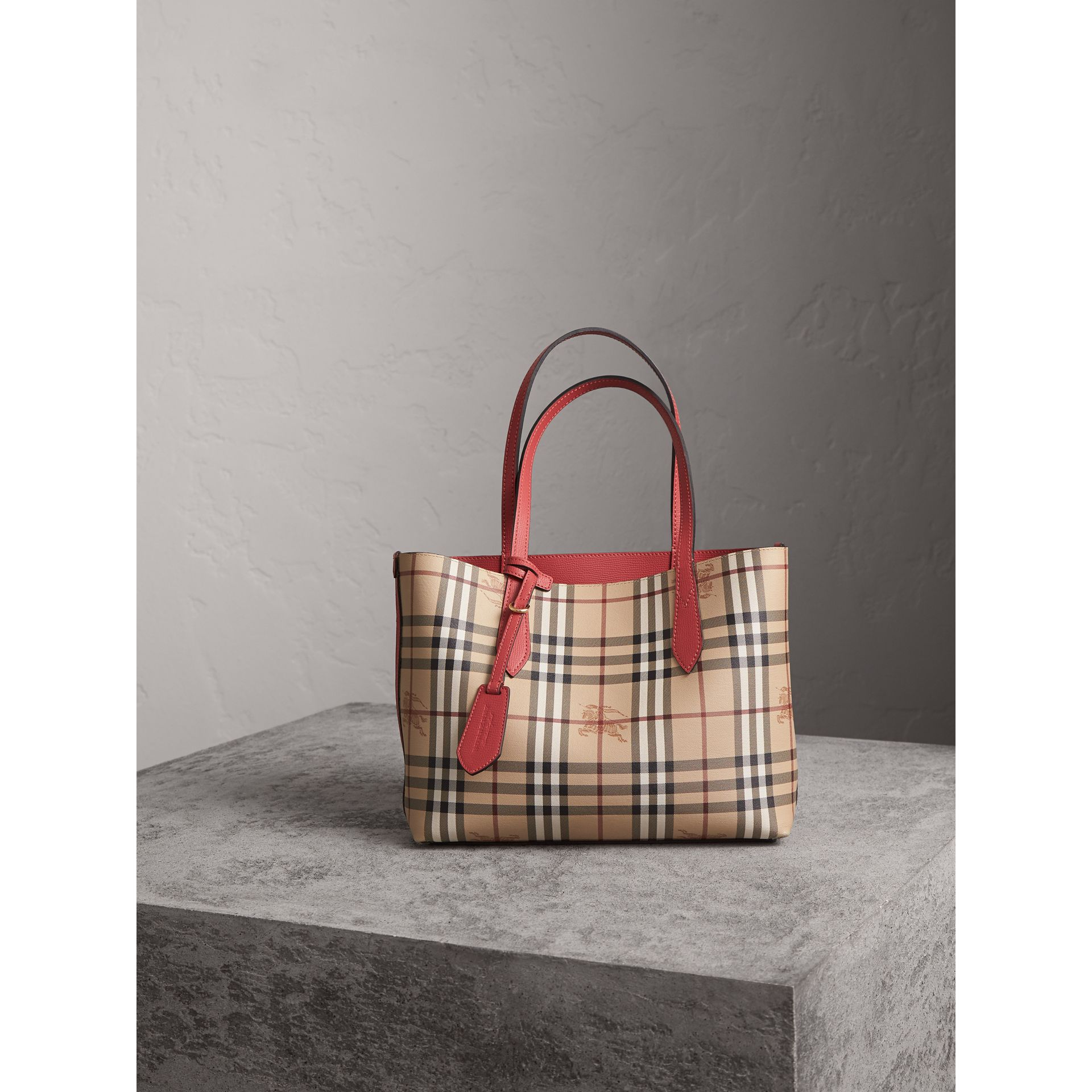 The Small Reversible Tote in Haymarket Check and Leather in Coral Red - Women | Burberry - gallery image 6