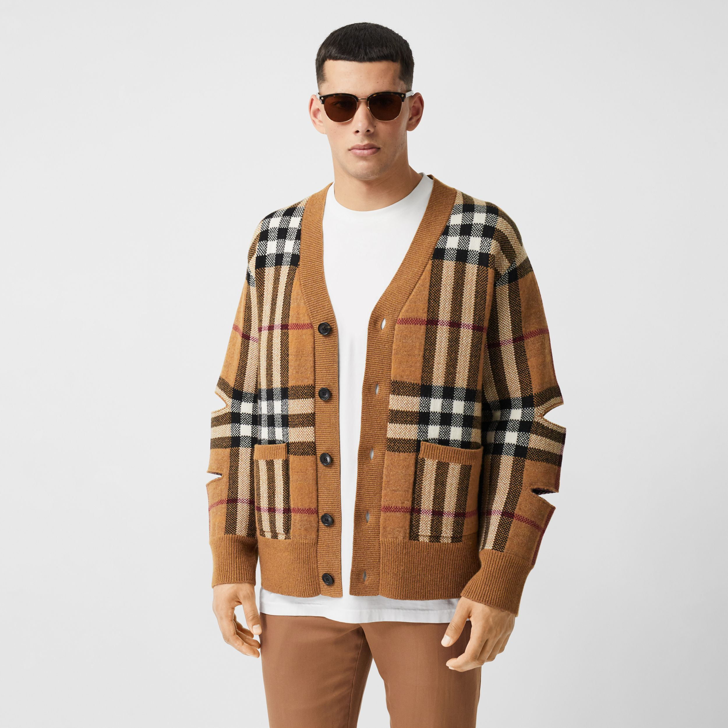 Cut-out Sleeve Check Wool Cashmere Cardigan in Birch Brown | Burberry - 1