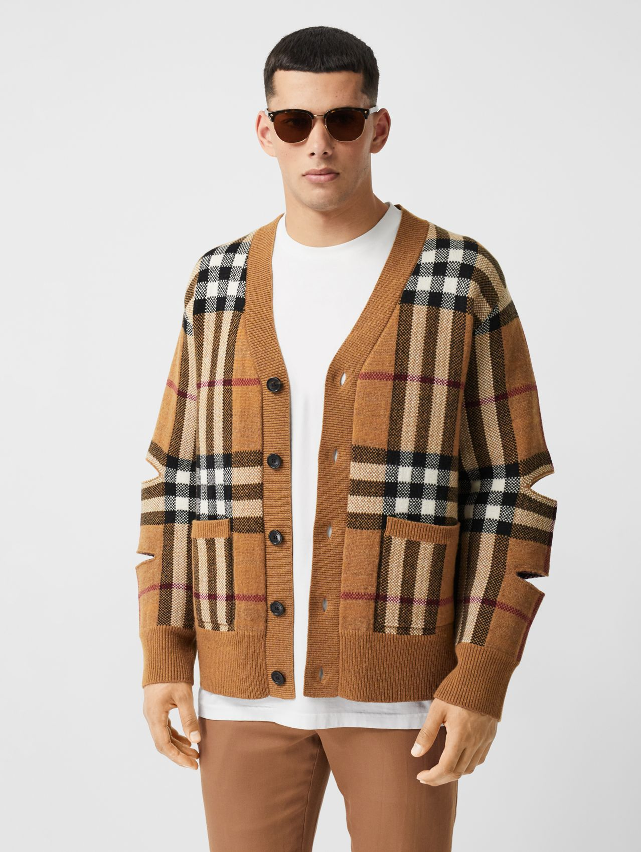 Cut-out Sleeve Check Wool Cashmere Cardigan in Birch Brown