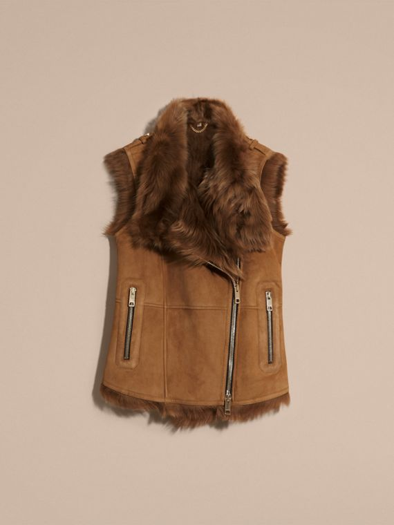 Cammello scuro Gilet in shearling Cammello Scuro - cell image 3