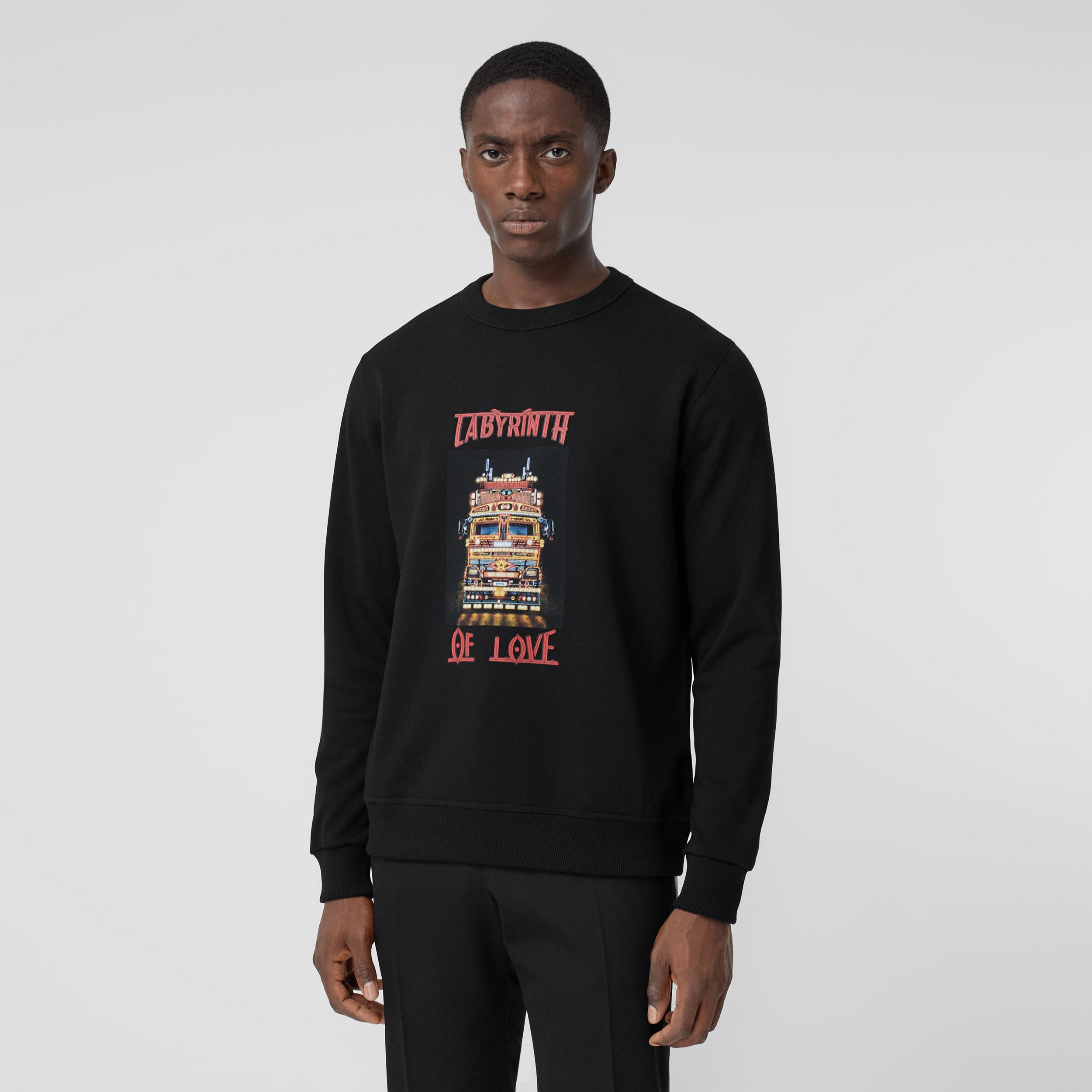 Slogan Print Cotton Sweatshirt in Black - Men | Burberry - 1