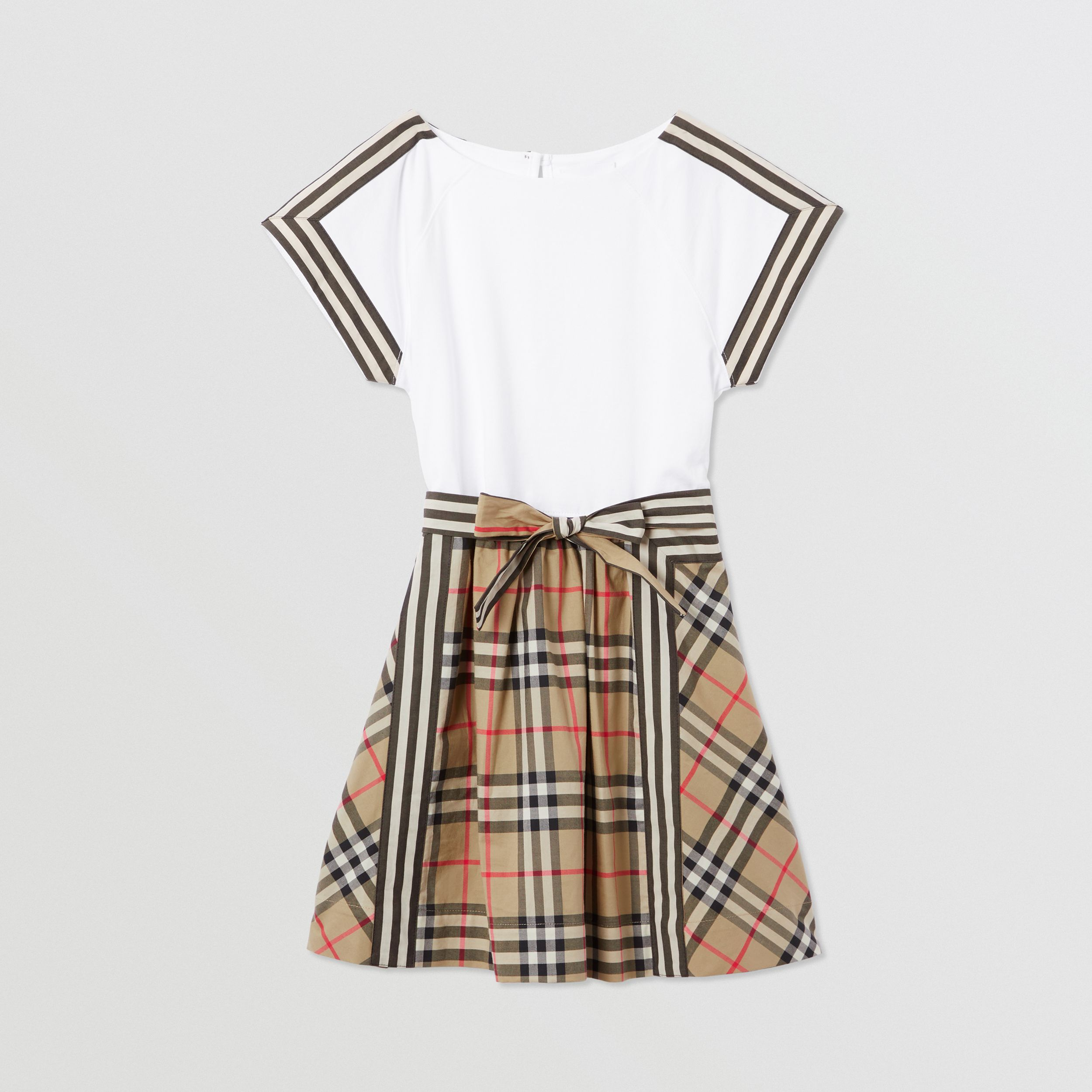 Vintage Check Detail Cotton Dress in Archive Beige | Burberry - 1