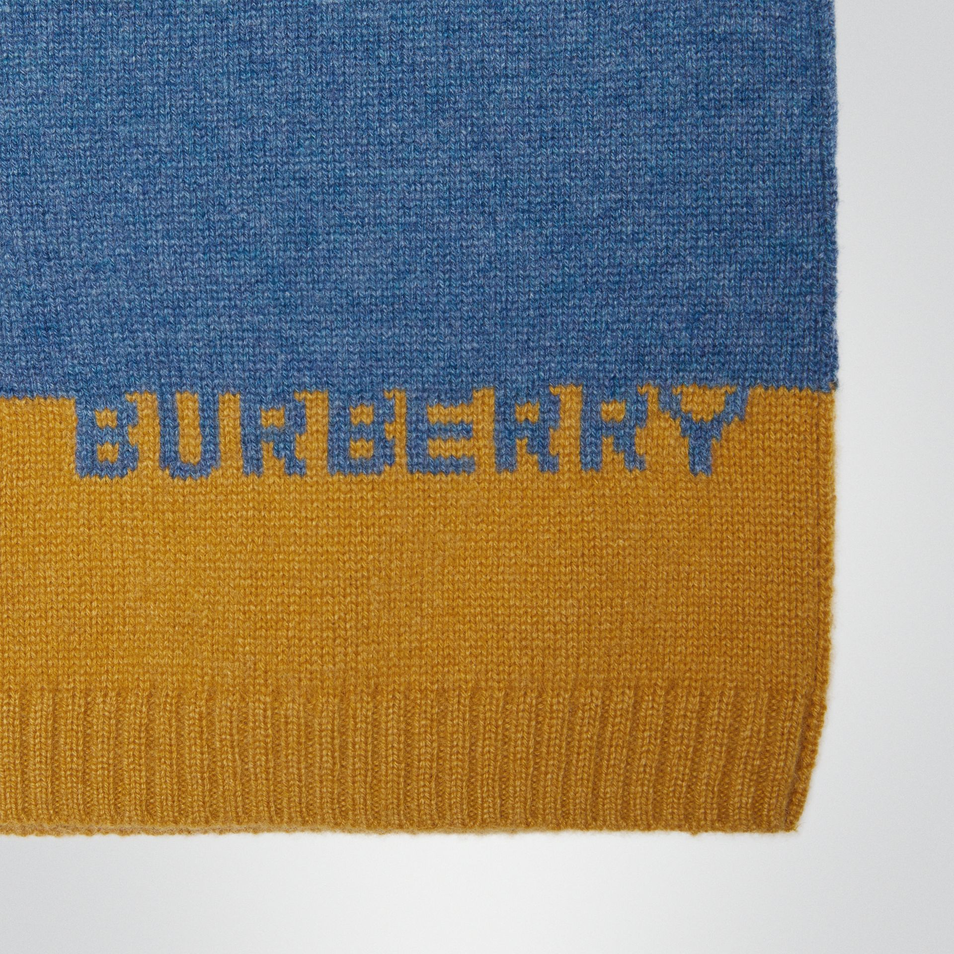 Logo Intarsia Cashmere Sweater in Dusty Blue Melange | Burberry - gallery image 1