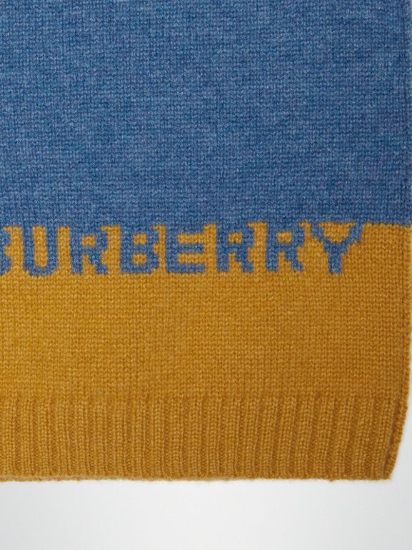 Logo Intarsia Cashmere Sweater in Dusty Blue Melange | Burberry - cell image 1