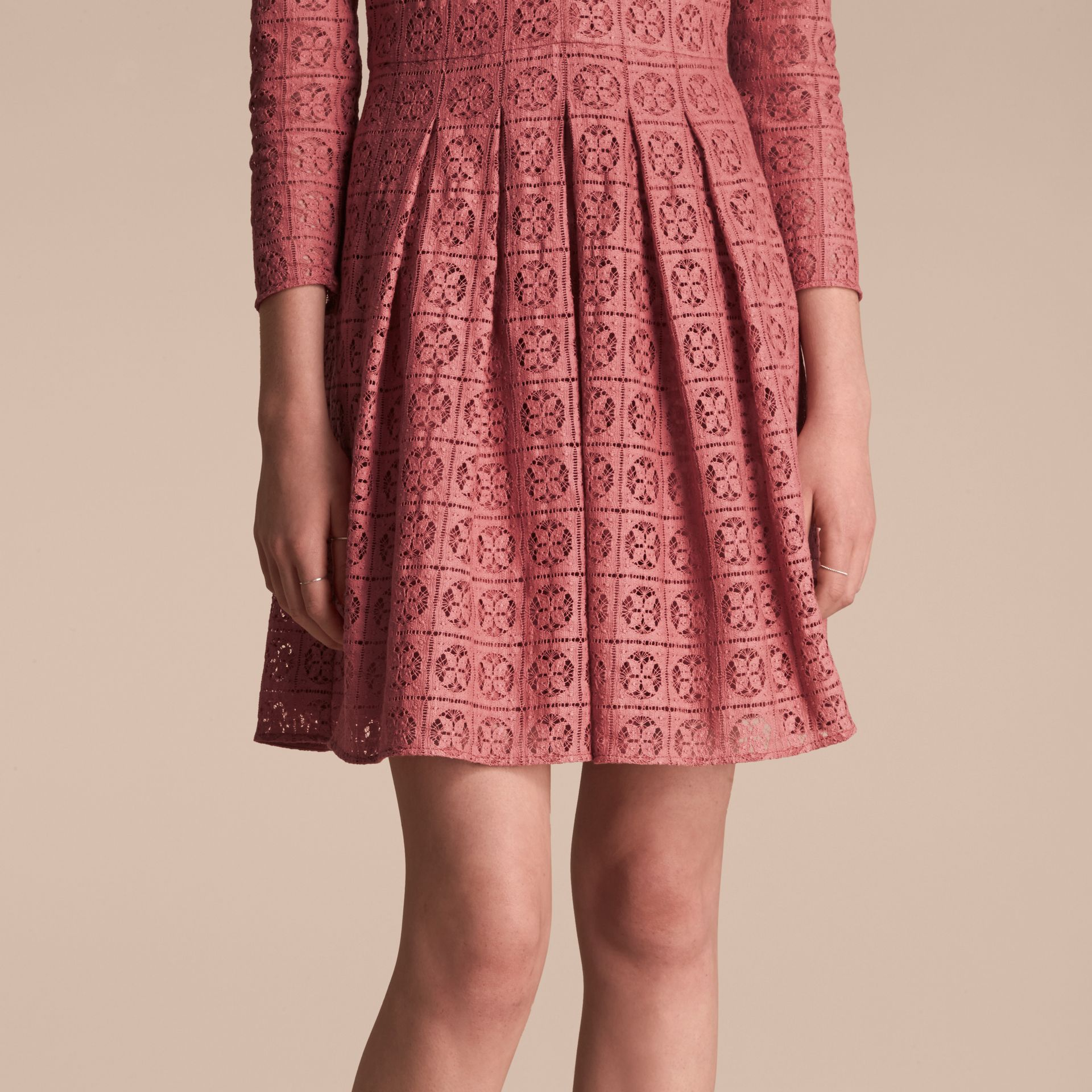 Dusty peony rose Lace Fit and Flare Dress - gallery image 5