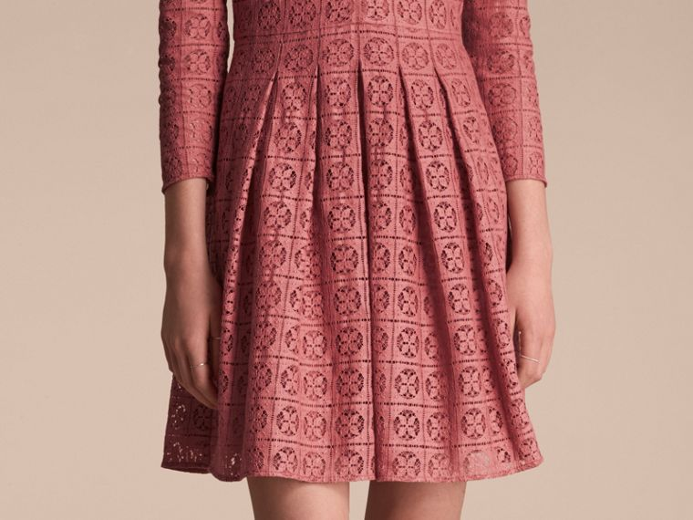 Dusty peony rose Lace Fit and Flare Dress - cell image 4