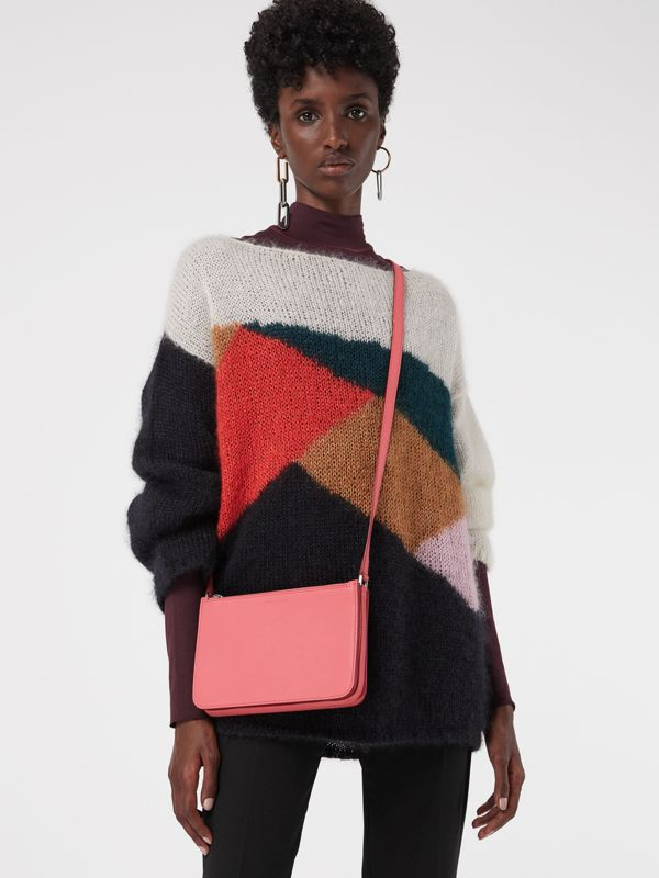 Triple Zip Grainy Leather Crossbody Bag in Bright Coral Pink - Women | Burberry - cell image 3