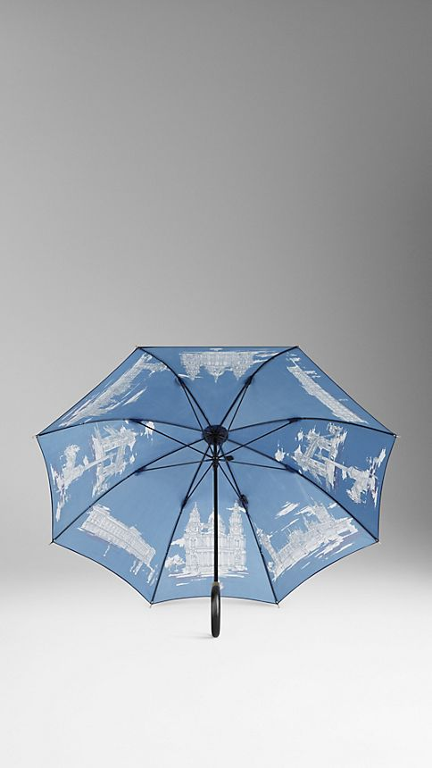 Brilliant navy print London Landmarks Walking Umbrella - Image 2