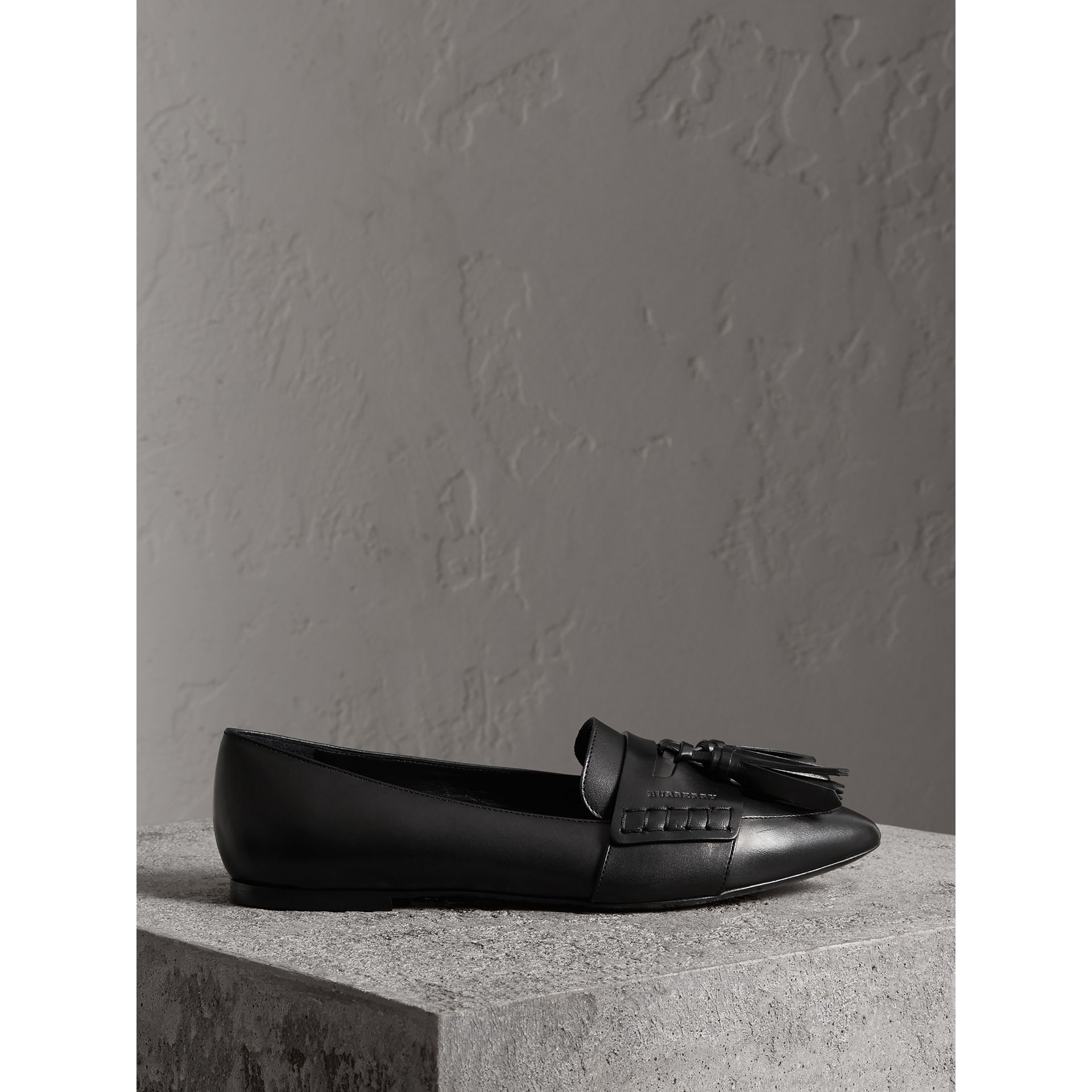 Tasselled Leather Loafers in Black - Women | Burberry - gallery image 4
