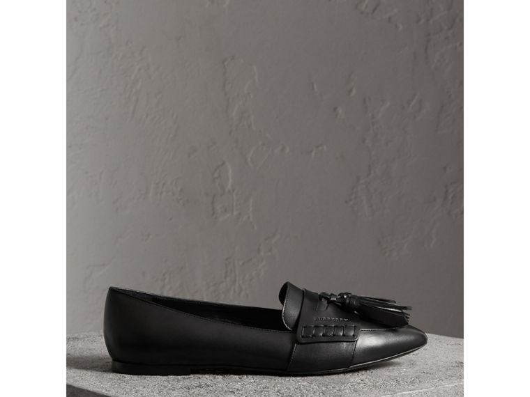 Tasselled Leather Loafers in Black - Women | Burberry - cell image 4