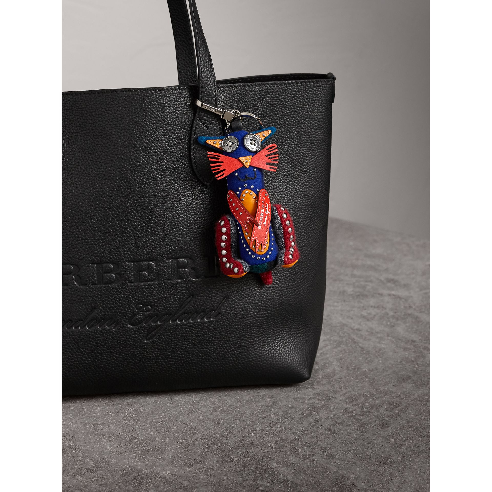 Rufus The Cat Cashmere Charm in Navy/red | Burberry United Kingdom - gallery image 2