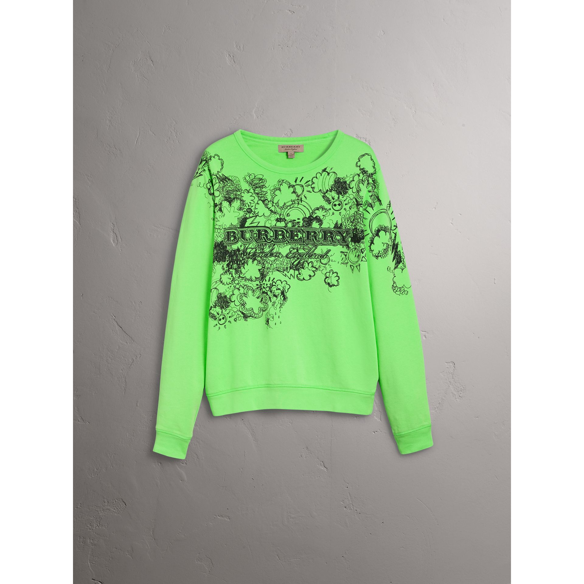 Doodle Print Cotton Sweatshirt in Bright Apple Green | Burberry - gallery image 3