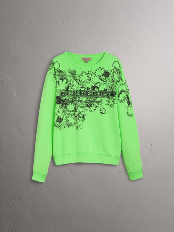 Doodle Print Cotton Sweatshirt in Bright Apple Green - Men | Burberry Australia - cell image 3