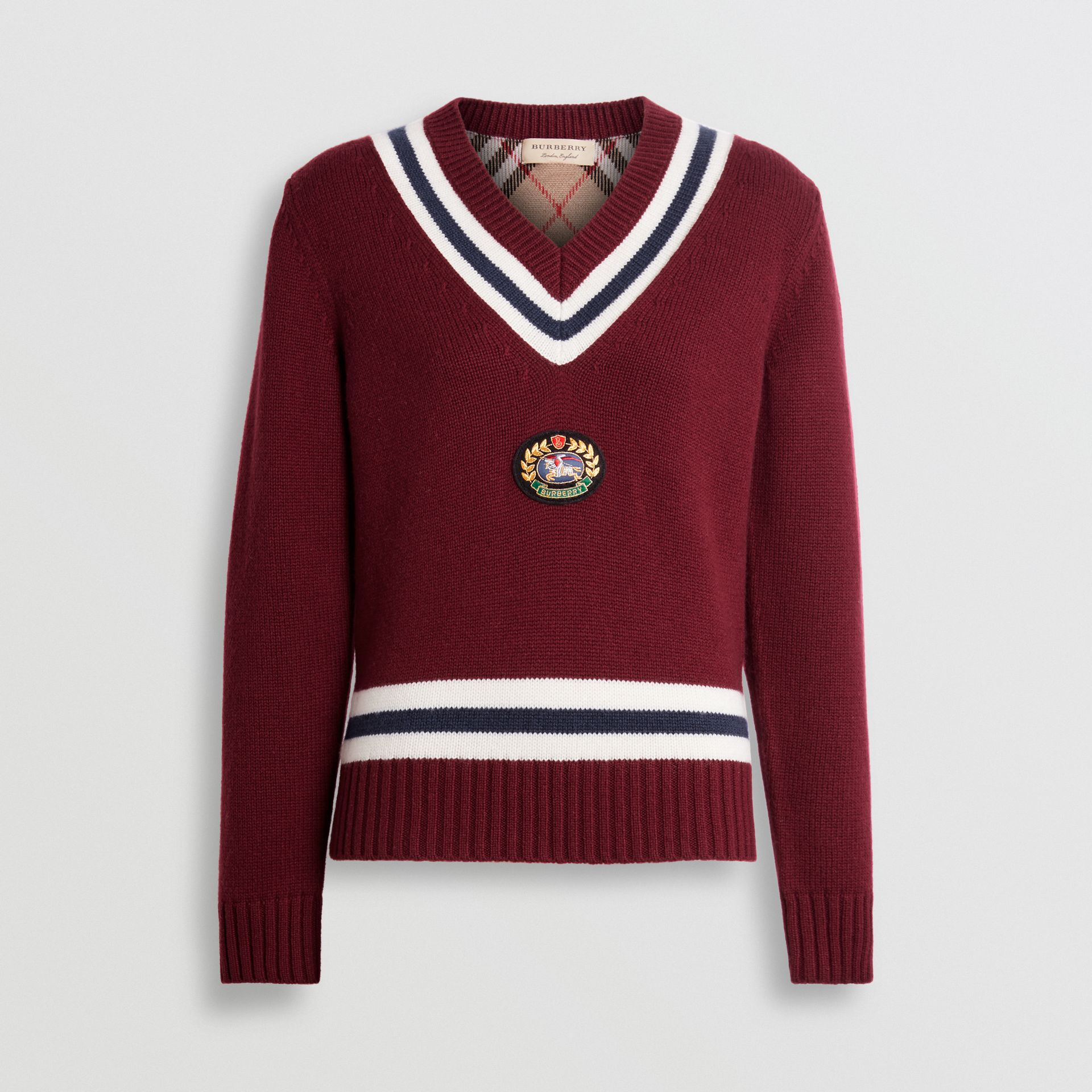 Embroidered Crest Wool Cashmere Sweater in Burgundy - Women | Burberry Australia - gallery image 3