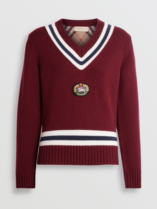 Embroidered Crest Wool Cashmere Sweater in Burgundy - Women | Burberry Australia - cell image 3