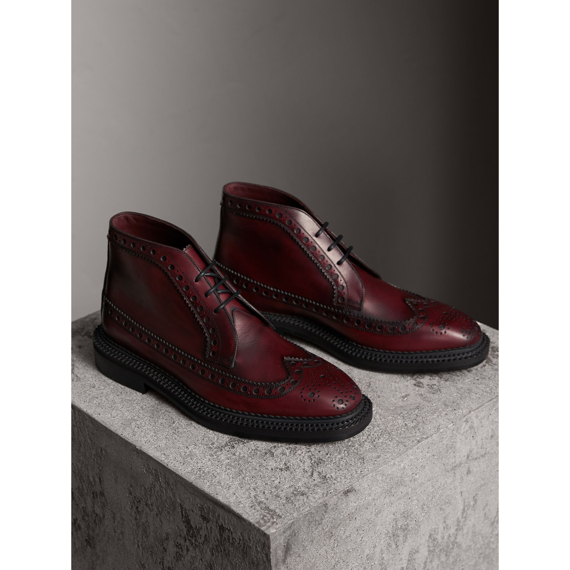 Leather Brogue Boots in Bordeaux - Men | Burberry United Kingdom - gallery image 3