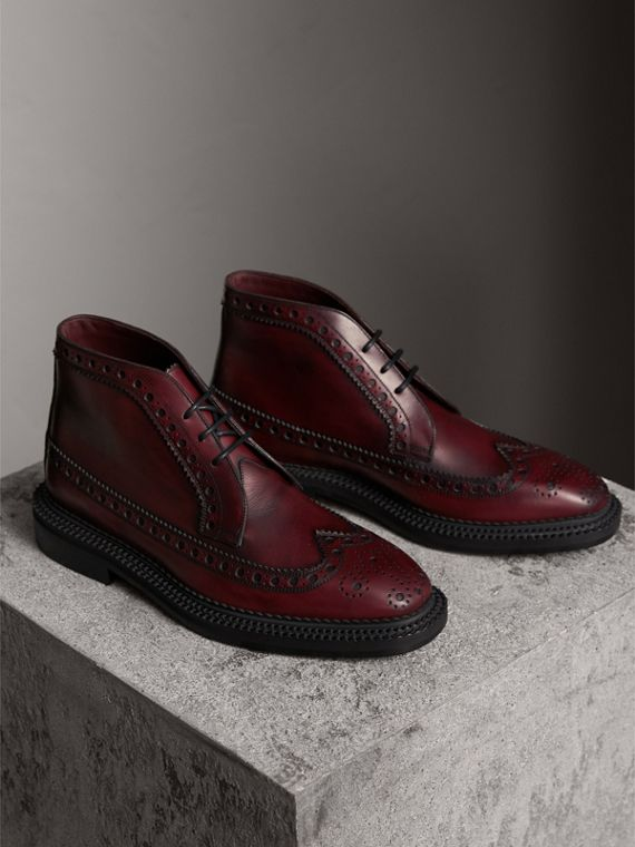 Leather Brogue Boots in Bordeaux - Men | Burberry - cell image 3