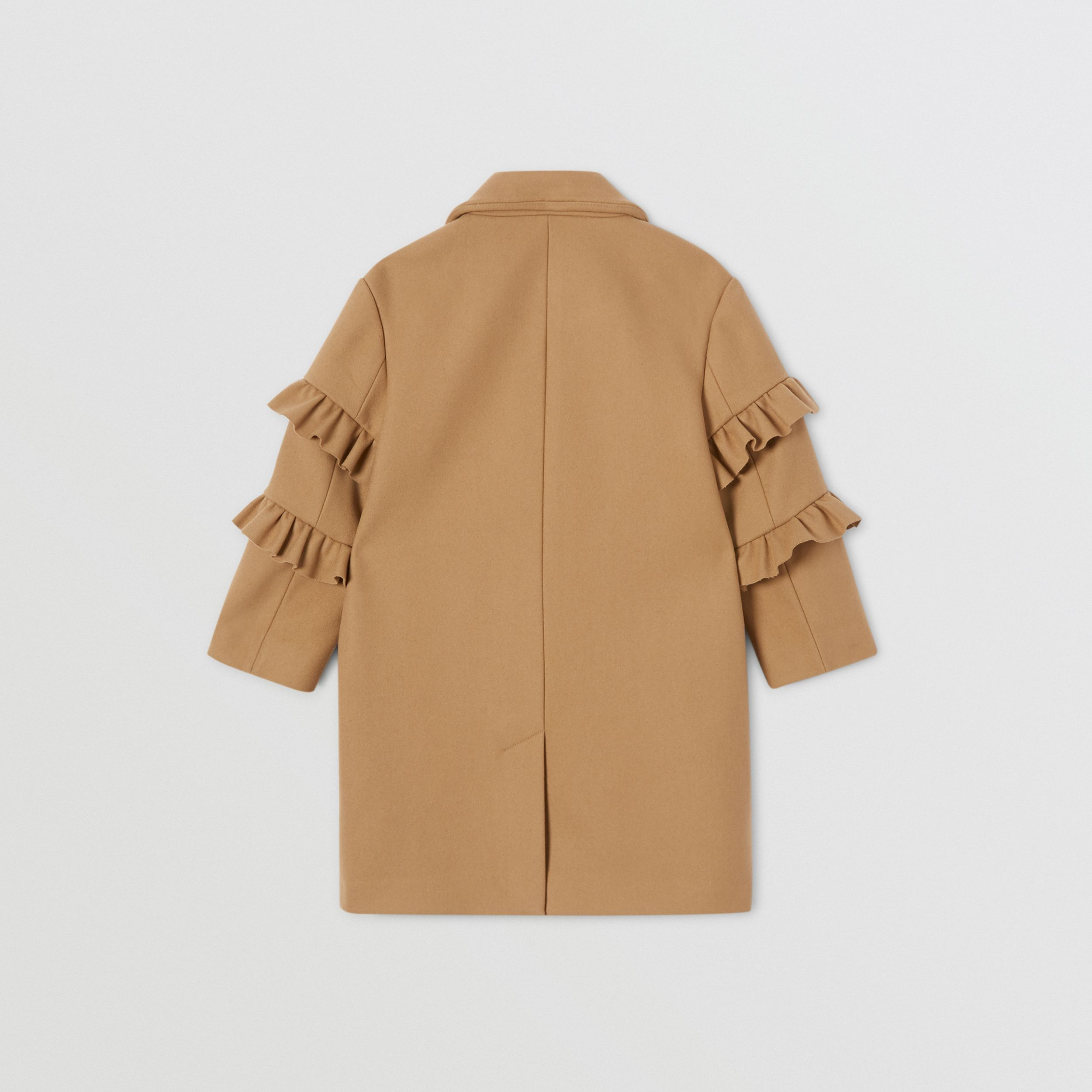 Ruffled Sleeve Wool Tailored Coat in Camel | Burberry - 4