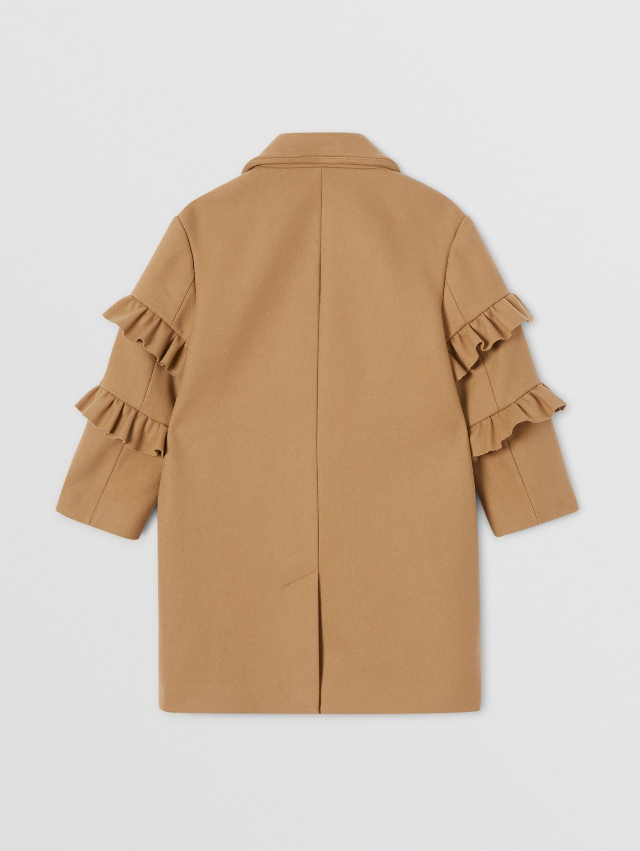 Ruffled Sleeve Wool Tailored Coat in Camel