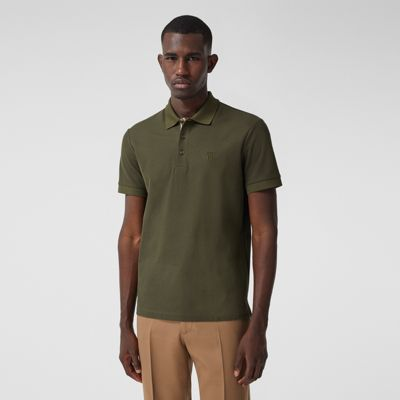 Monogram Motif Cotton Piqué Polo Shirt in Dark Olive - Men   Burberry Canada
