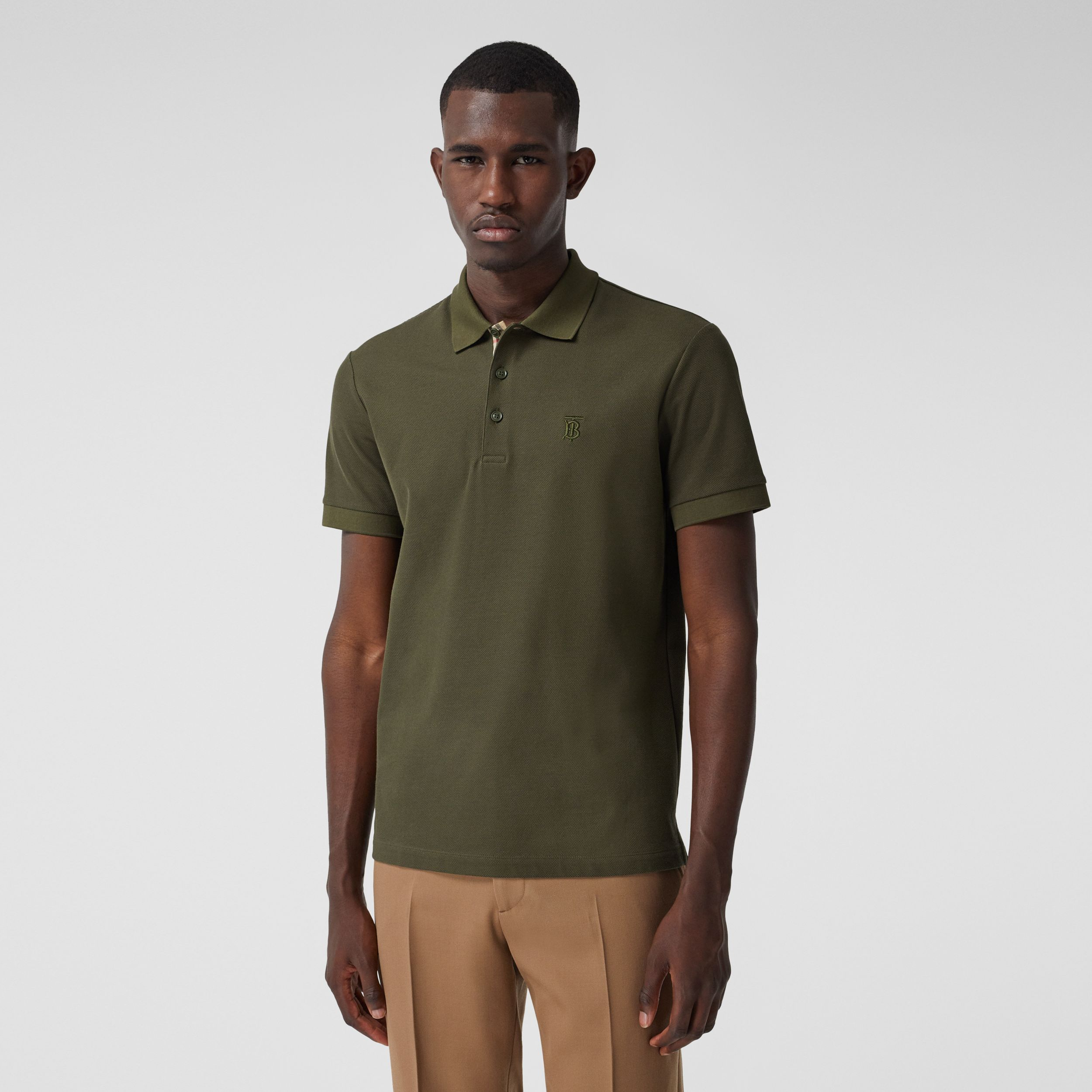 Monogram Motif Cotton Piqué Polo Shirt in Dark Olive - Men | Burberry - 1