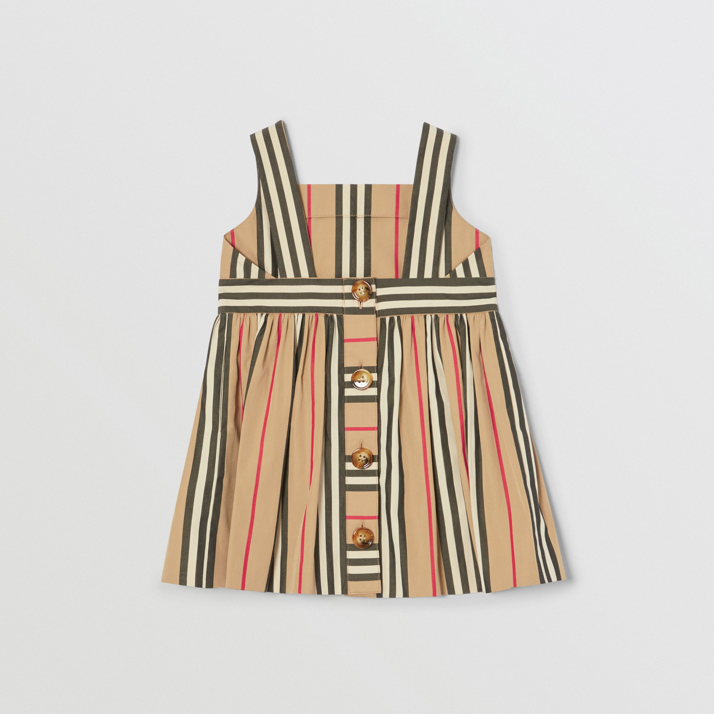 Icon Stripe Cotton Poplin Dress in Archive Beige - Children | Burberry - 4