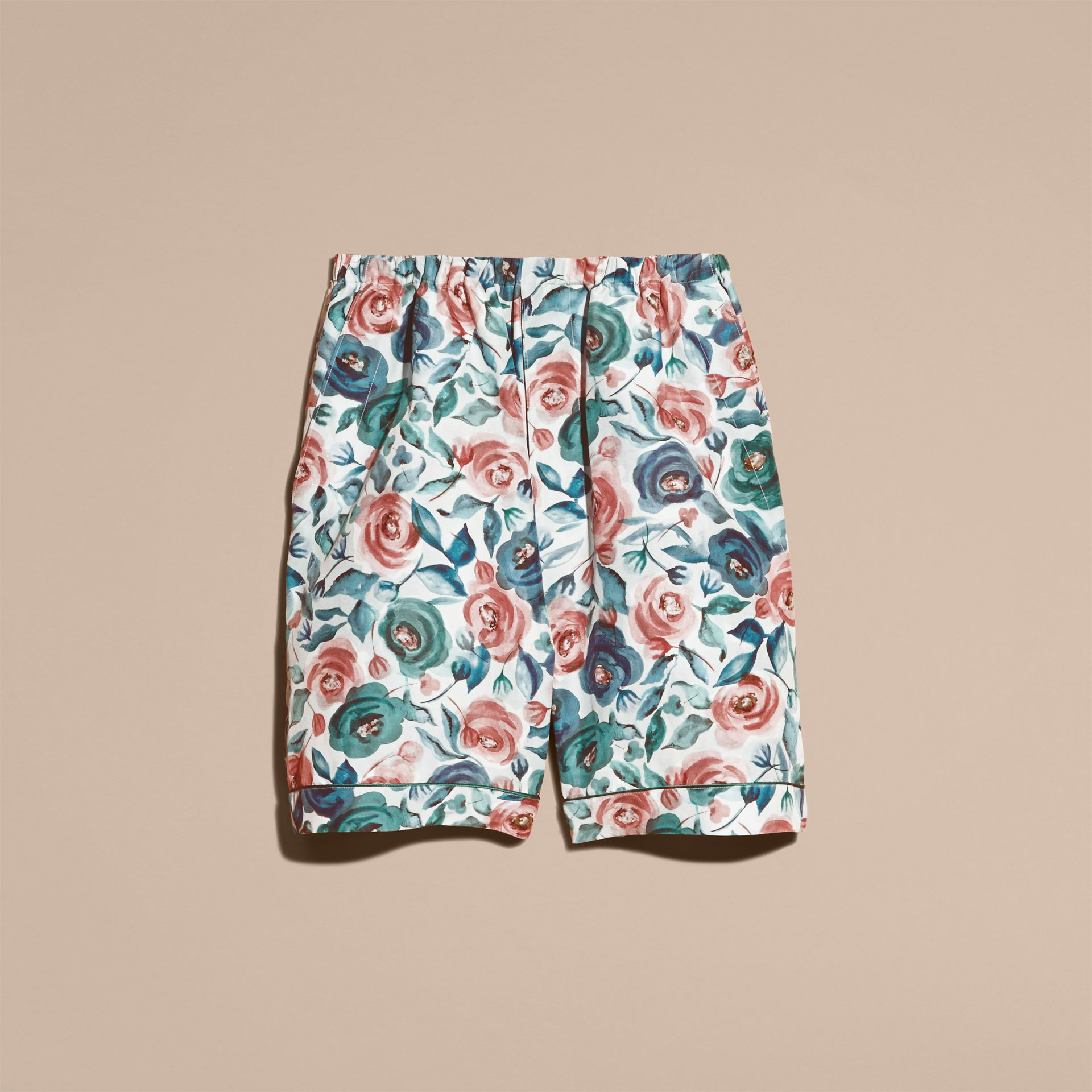 Watercolour Rose Silk Cotton Pyjama-style Shorts - gallery image 4