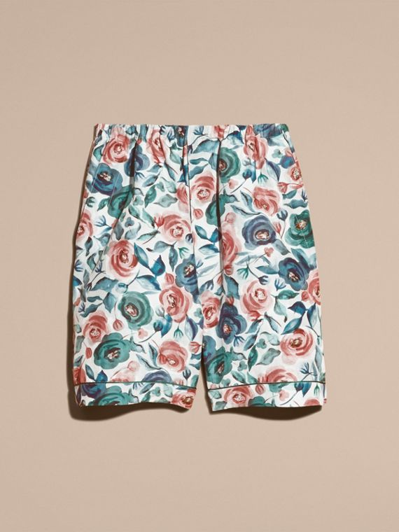 Watercolour Rose Silk Cotton Pyjama-style Shorts - cell image 3