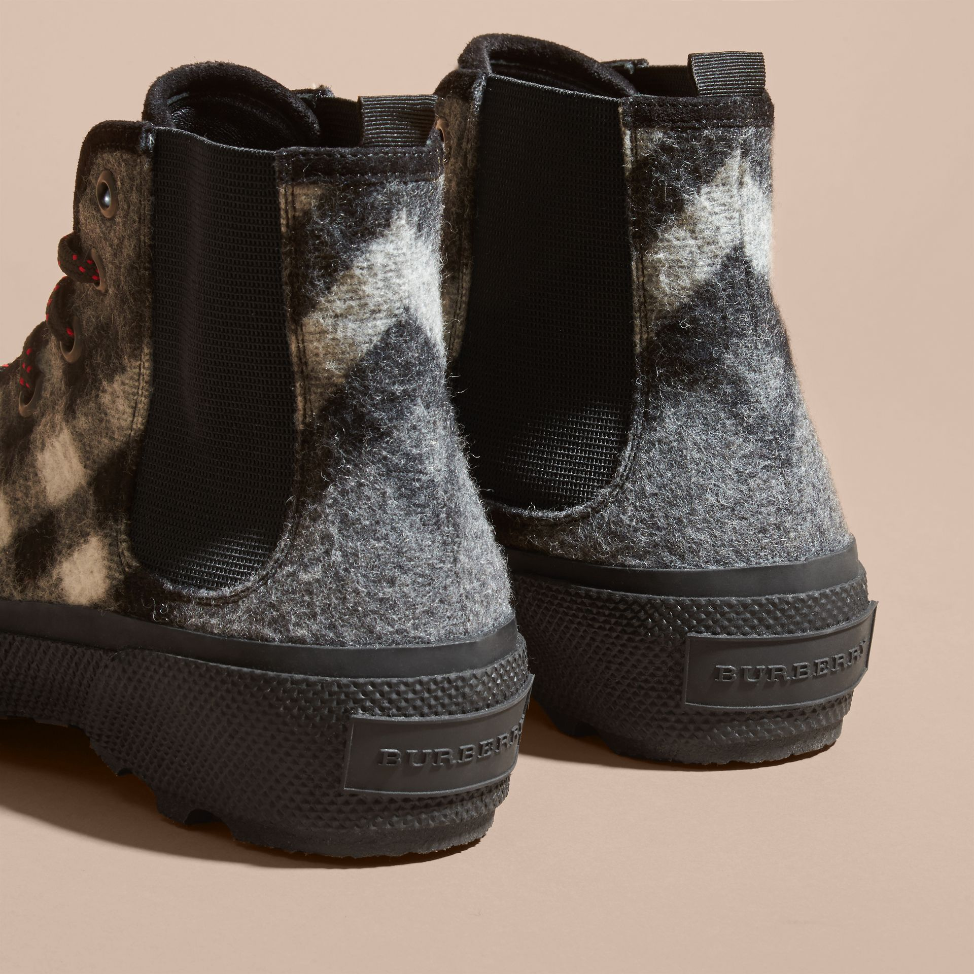 Dark grey Check Technical Wool and Vulcanised Rubber Boots Dark Grey - gallery image 4