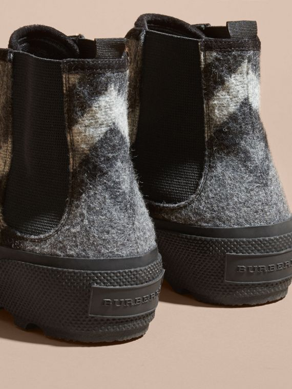 Check Technical Wool and Vulcanised Rubber Boots in Dark Grey - cell image 3