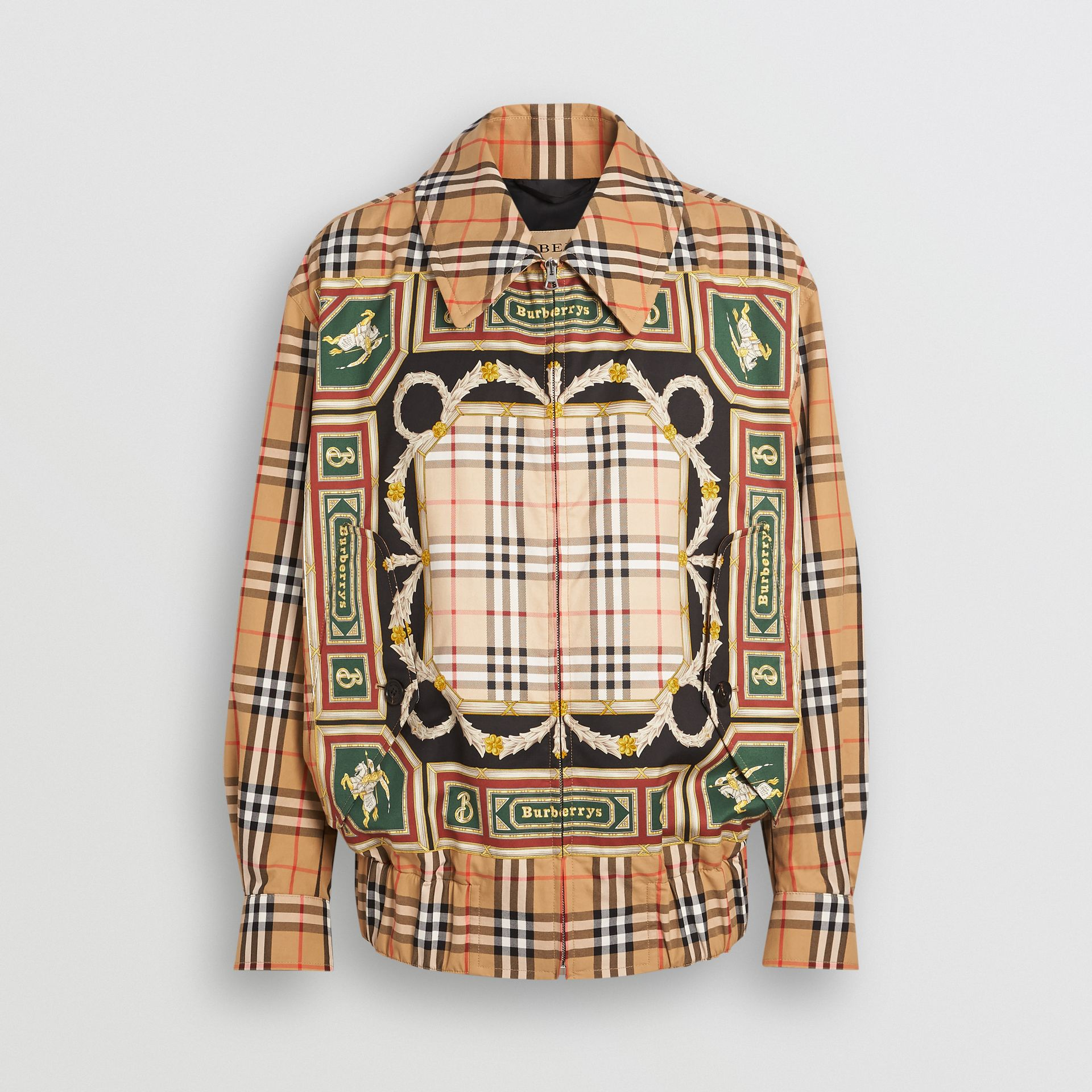 Archive Scarf Print Harrington Jacket in Antique Yellow - Men | Burberry Canada - gallery image 3