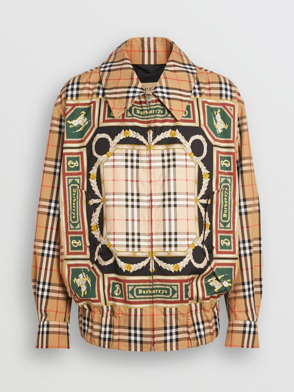 Archive Scarf Print Harrington Jacket in Antique Yellow - Men | Burberry Singapore - cell image 3