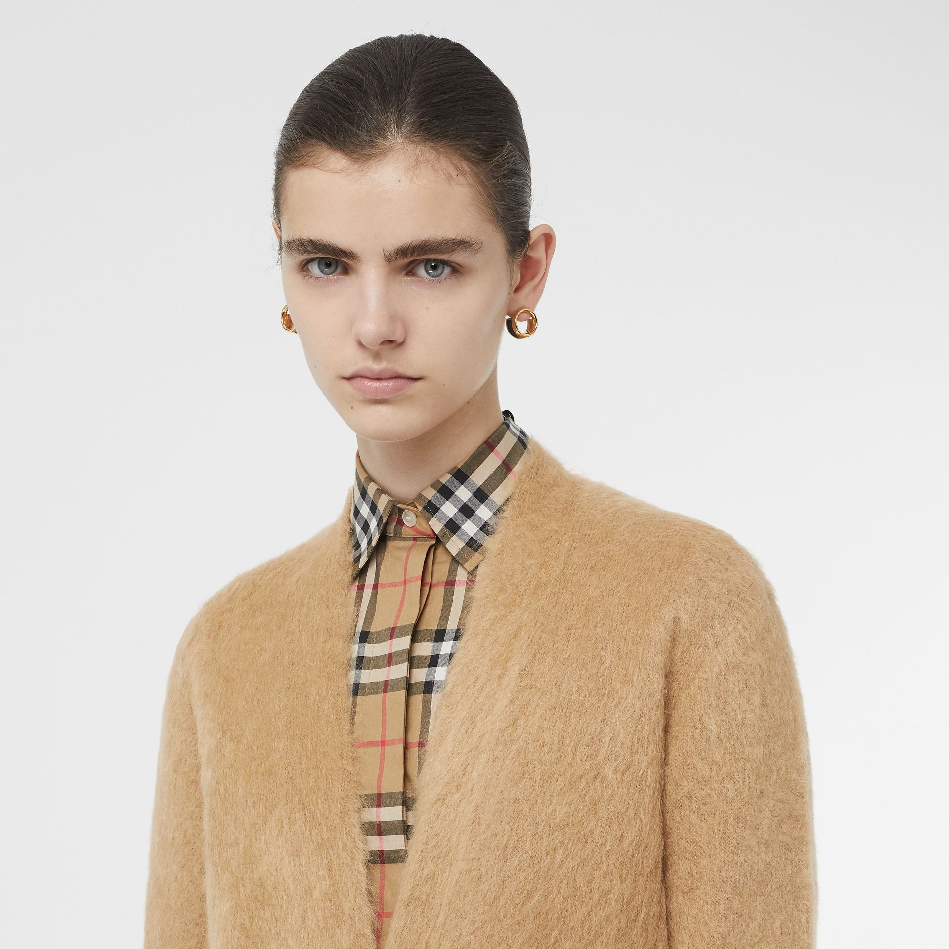 Silk Mohair Wool Blend V-neck Cardigan in Light Camel - Women | Burberry - gallery image 1