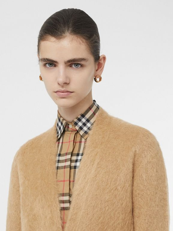 Silk Mohair Wool Blend V-neck Cardigan in Light Camel - Women | Burberry United States - cell image 1