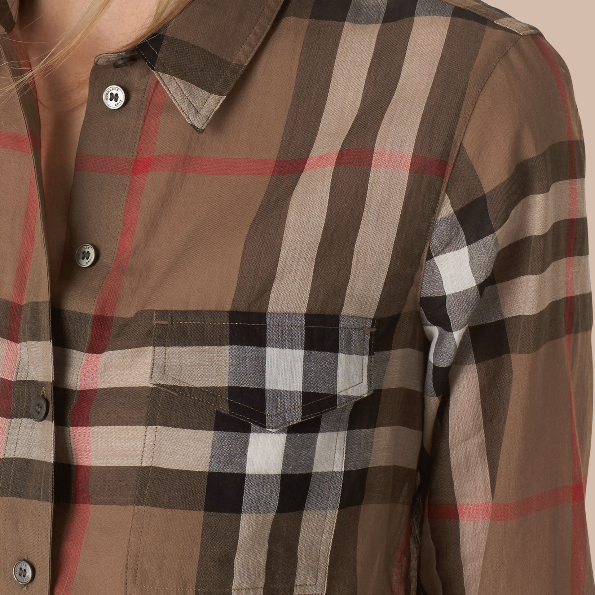 Check Cotton Shirt Taupe Brown - gallery image 2