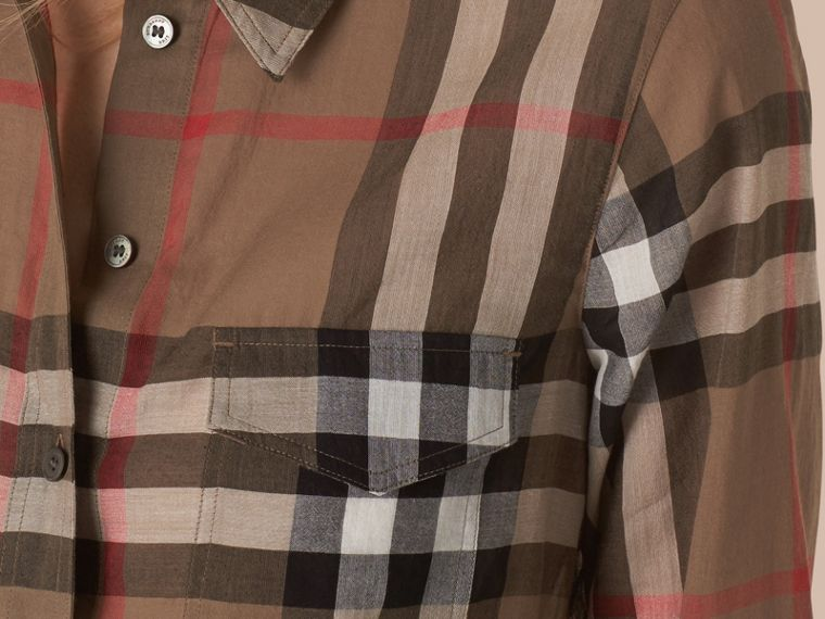 Check Cotton Shirt Taupe Brown - cell image 1