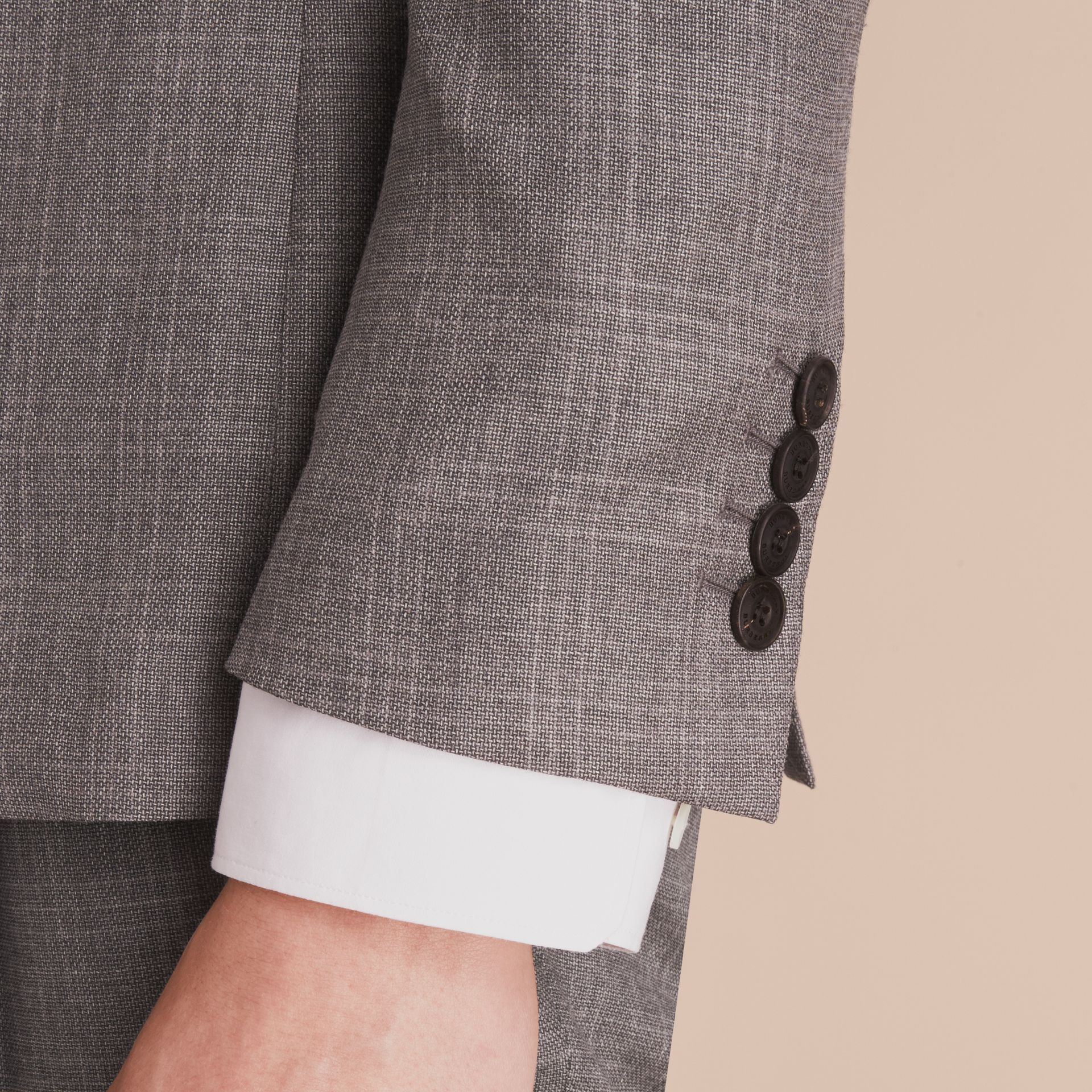 Slim Fit Prince of Wales Check Wool Part-canvas Suit in Pale Grey - Men | Burberry - gallery image 5
