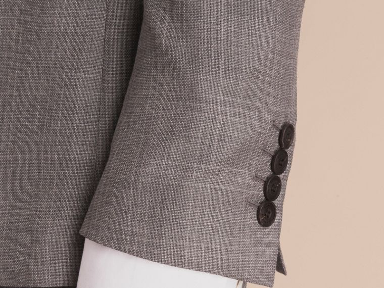 Slim Fit Prince of Wales Check Wool Part-canvas Suit in Pale Grey - Men | Burberry - cell image 4