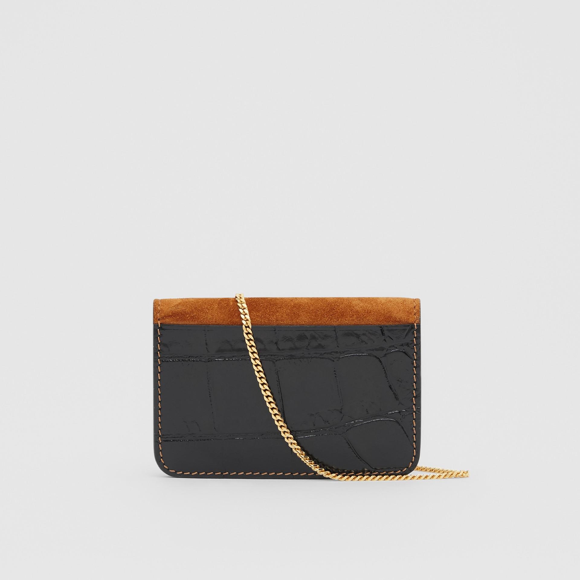Porta-cartões de couro e camurça com alça removível (Branco/bordo/preto) - Mulheres | Burberry - galeria de imagens 5