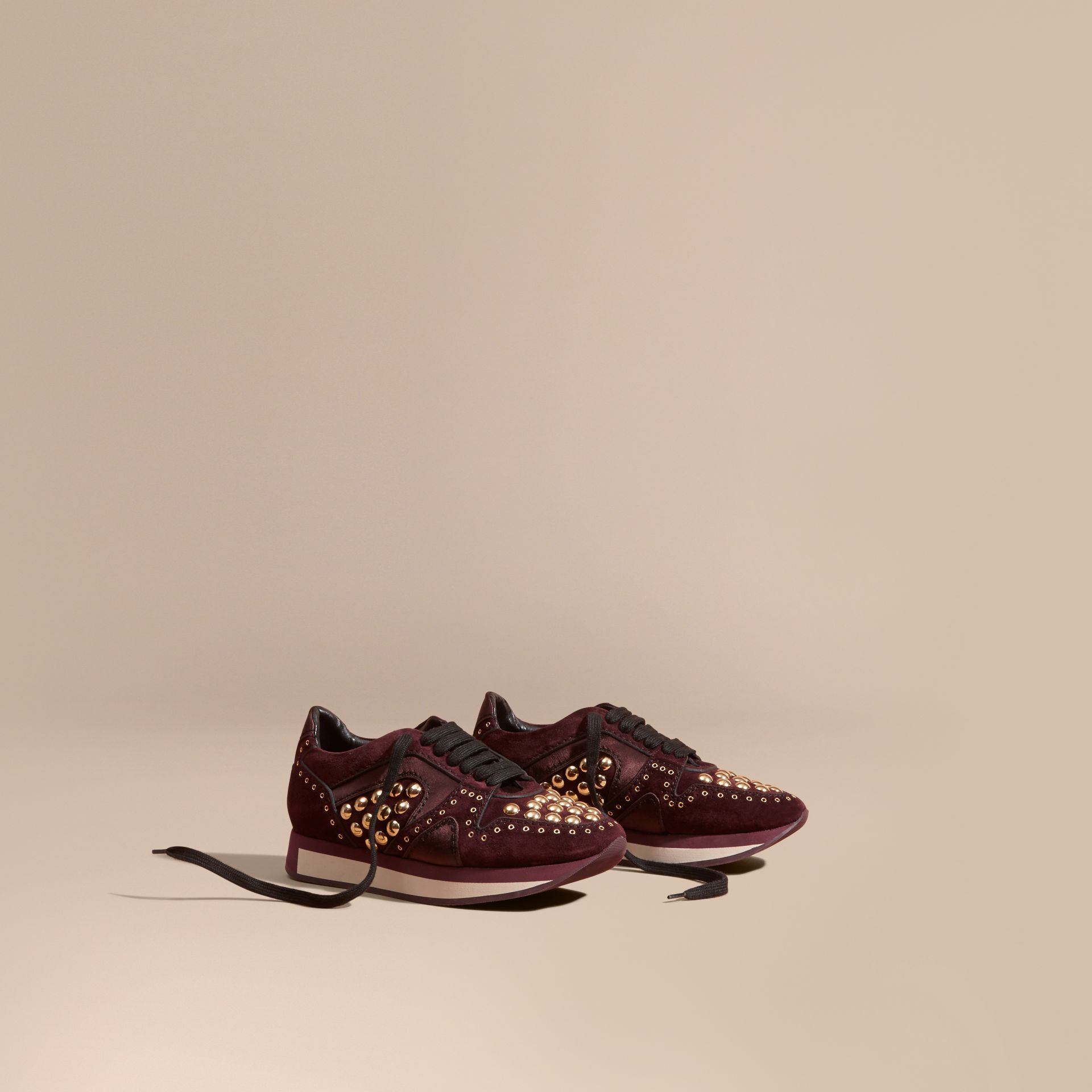 Dark mahogany The Field Sneaker in Studded Suede Dark Mahogany - gallery image 1