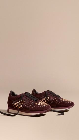 Field Sneakers en cuir velours clouté
