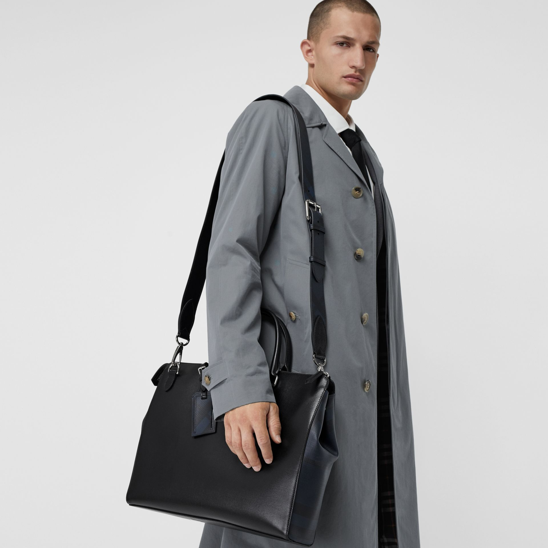 Large London Leather Briefcase in Black - Men | Burberry Australia - gallery image 3