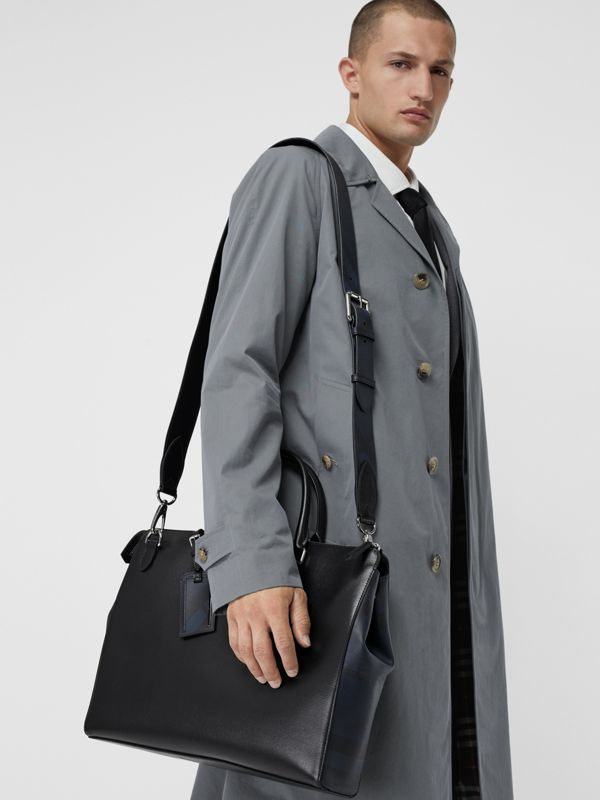 Large London Leather Briefcase in Black - Men | Burberry Australia - cell image 3